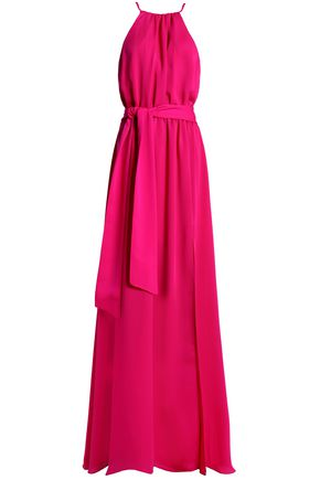 HALSTON HERITAGE Belted crepe gown