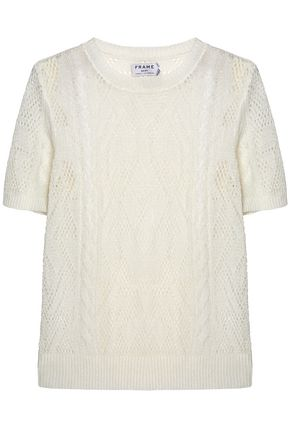 FRAME Cable and open-knit linen-blend top
