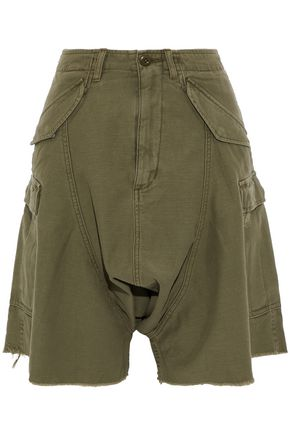 R13 Frayed cotton-twill shorts
