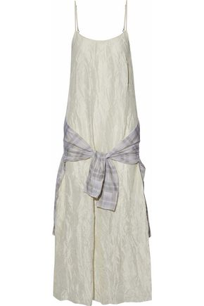 R13 Tie-front crinkled silk-satin maxi dress