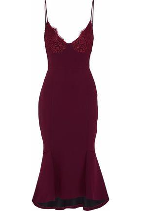 NICHOLAS Fluted corded lace-paneled crepe midi slip dress