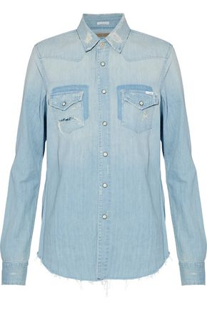 MOTHER Distressed chambray shirt