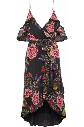 NICHOLAS Cold-shoulder wrap-effect silk-chiffon dress