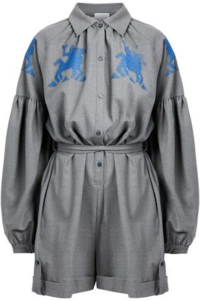 WOMAN EMBROIDERED WOOL-BLEND PLAYSUIT GRAY