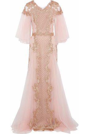 MARCHESA Bead-embellished embroidered tulle gown