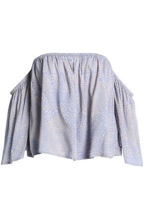 Tart Collections Woman Off-the-shoulder Printed Crepe De Chine Top Lilac Size XS Tart Collections