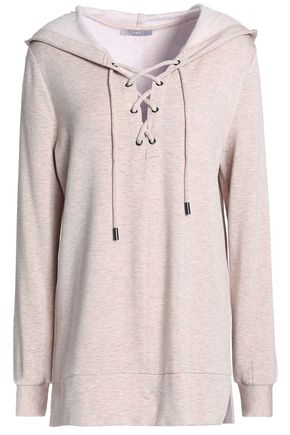 TART COLLECTIONS Lace-up cotton-fleece hooded sweatshirt