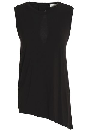 HALSTON HERITAGE Asymmetric knotted stretch-modal jersey top