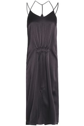 HALSTON HERITAGE Ruched satin-crepe midi dress