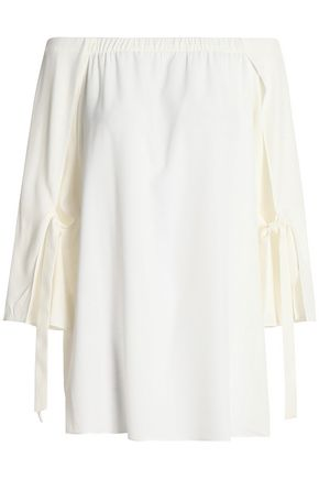 HALSTON HERITAGE Off-the-shoulder crepe blouse