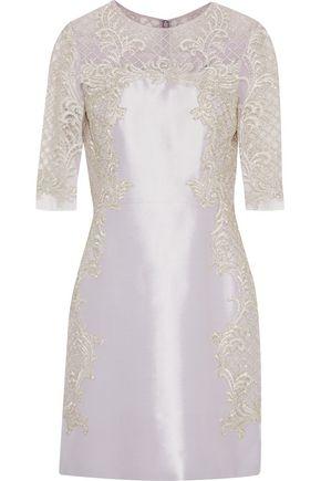 MARCHESA Embellished tulle-paneled silk and wool-blend taffeta mini dress