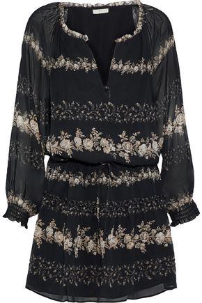 JOIE Jewels gathered floral-print silk-georgette mini dress
