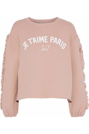 CINQ À SEPT Ruffle-trimmed printed cotton-fleece sweatshirt