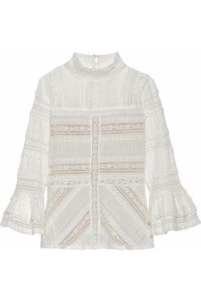 CINQ À SEPT Martine ruffle-trimmed crocheted cotton-blend blouse