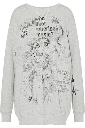 WOMAN DISTRESSED PRINTED FRENCH COTTON-TERRY SWEATSHIRT GRAY