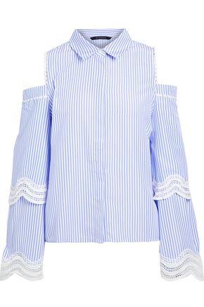 W118 by WALTER BAKER Darlene cold-shoulder crochet-trimmed striped poplin top