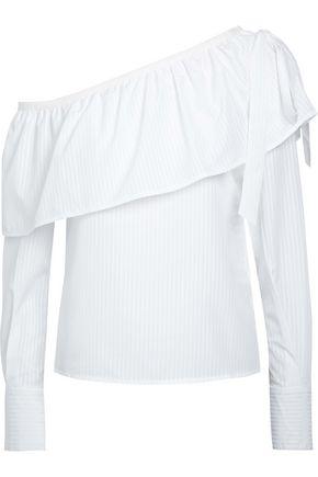 W118 by WALTER BAKER Kristen one-shoulder ruffled striped cotton-blend top