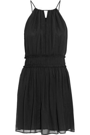 JOIE Frayed silk-chiffon mini dress
