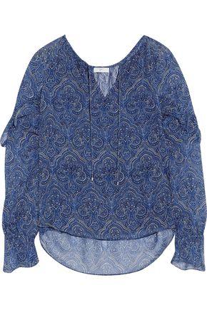 JOIE Ruffled printed silk-chiffon blouse