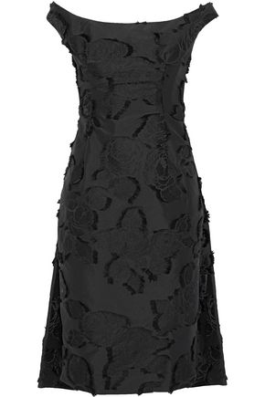 LELA ROSE Cape-effect fil coupé taffeta dress