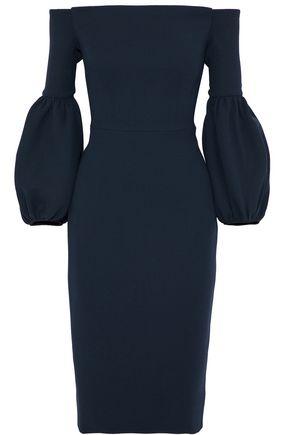 LELA ROSE Off-the-shoulder wool-blend crepe dress
