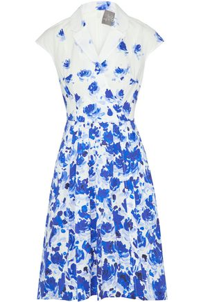 LELA ROSE Pleated floral-print silk and cotton-blend dress