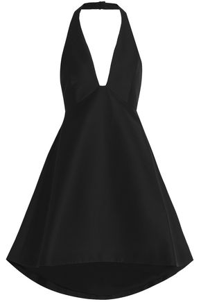 HALSTON HERITAGE Cotton and silk-blend halterneck mini dress