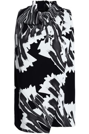 HALSTON HERITAGE Wrap-effect printed crepe top