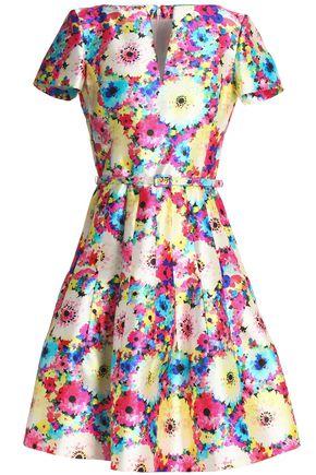 OSCAR DE LA RENTA Floral-print silk and cotton-blend twill dress