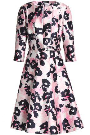 OSCAR DE LA RENTA Belted floral-print silk and cotton-blend faille dress