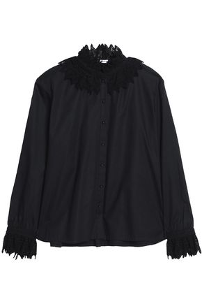 VILSHENKO Lace-trimmed cotton-piqué blouse