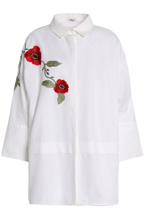 VILSHENKO Embroidered cotton-piqué top