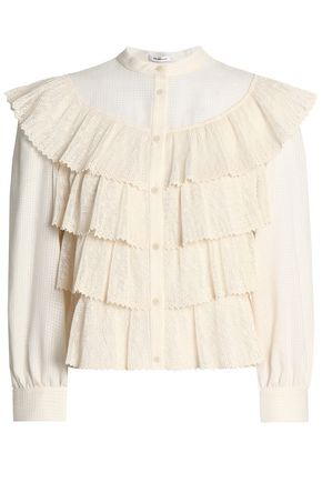 VILSHENKO Lace tiered cotton-gauze top