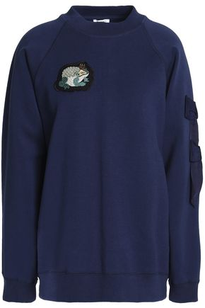VILSHENKO Embroidered bow-embellished cotton-blend jersey sweatshirt