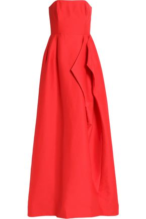 HALSTON HERITAGE Strapless draped cotton and silk-blend gown