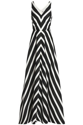 HALSTON HERITAGE Striped woven gown
