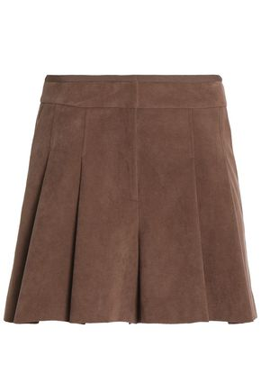 HALSTON HERITAGE Skirt-effect pleated faux suede shorts