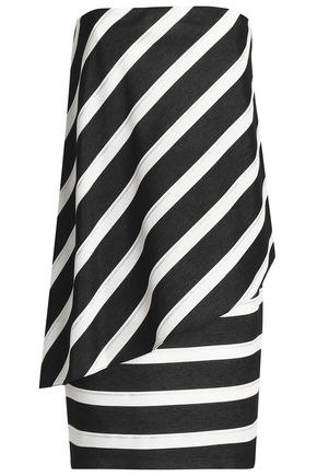 HALSTON HERITAGE Strapless striped woven mini dress