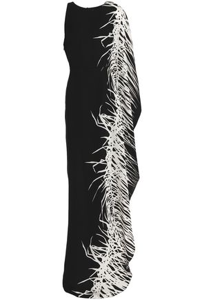HALSTON HERITAGE Asymmetric printed crepe gown