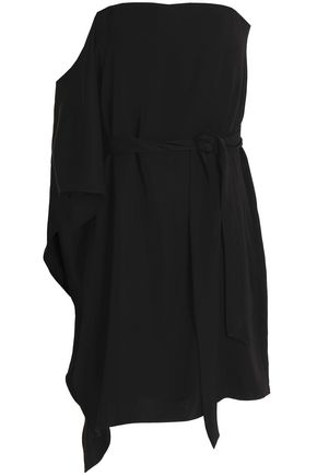 HALSTON HERITAGE Asymmetric belted crepe dress
