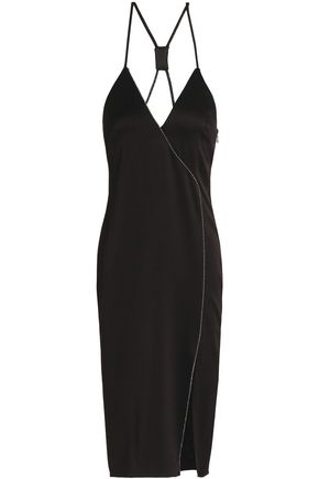 HALSTON HERITAGE Wrap-effect metallic-trimmed satin-crepe dress