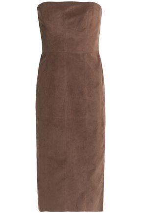 HALSTON HERITAGE Strapless faux suede dress