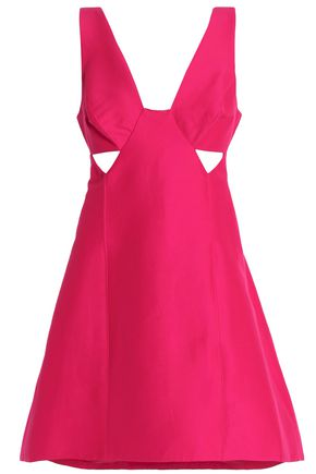 HALSTON HERITAGE Cutout cotton-blend satin dress