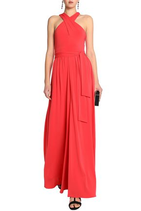HALSTON HERITAGE Cutout knotted stretch-jersey gown