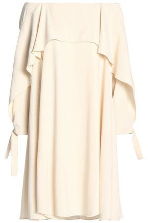 HALSTON HERITAGE Off-the-shoulder layered crepe dress