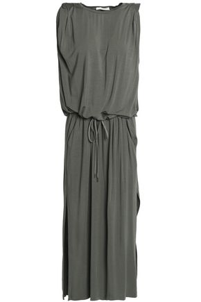 HALSTON HERITAGE Gathered stretch-modal jersey midi dress