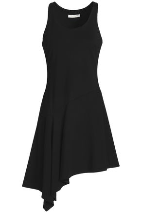 HALSTON HERITAGE Asymmetric stretch-knit mini dress