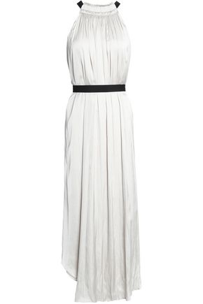 HALSTON HERITAGE Pleated satin midi dress