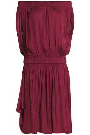 HALSTON HERITAGE Off-the-shoulder gathered sateen dress