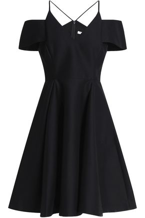 HALSTON HERITAGE Cold-shoulder pleated cotton and silk-blend dress